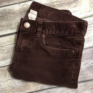 J. Crew Toothpick Corduroy Skinny Brown 27 Stretch